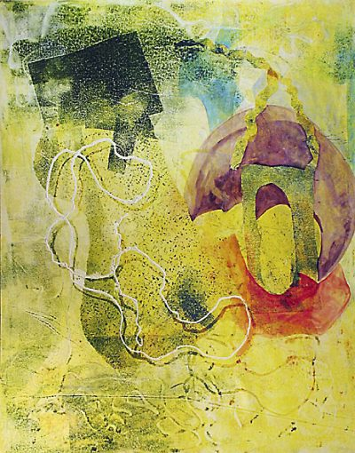 "Life Line #6 - 1994-1997 - Mixed Media on Paper - 58"" h x 46 1/2"" w"