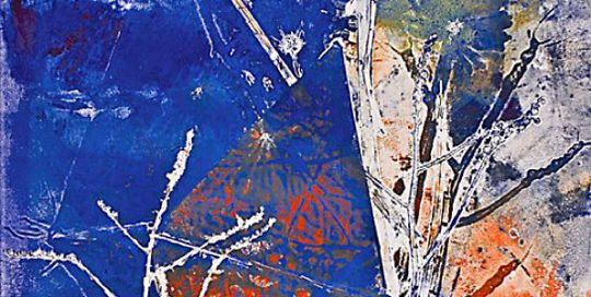"""Imperial Blue #4 - 2008-2009 - Mixed Media on Paper - 48"""" h x 35 5/8"""" w"""