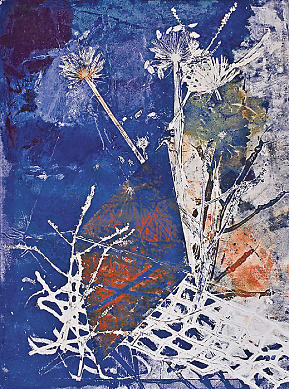 "Imperial Blue #4 - 2008-2009 - Mixed Media on Paper - 48"" h x 35 5/8"" w"