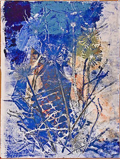 "Imperial Blue #9 - 2008-2009 - Mixed Media on Paper - 47 7/8"" h x 35 1/2"" w"