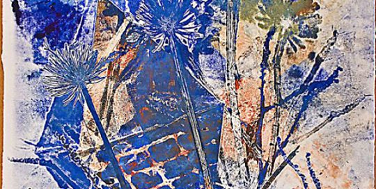 """Imperial Blue #9 - 2008-2009 - Mixed Media on Paper - 47 7/8"""" h x 35 1/2"""" w"""
